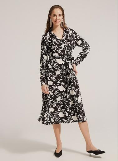 Monamoda Yaprak Desenli Viskon Gömlek Elbise Siyah